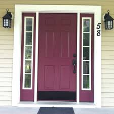 spiced plum color by behr and brushed bronze hardware front door