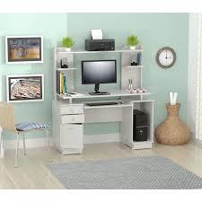 inval computer desk with hutch inval modern white computer workcenter credenza and hutch white