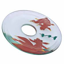 waterfall faucet glass disc tray plate koi fish