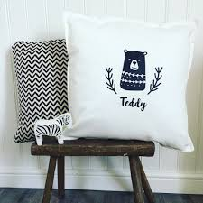 personalised name and bear cushion cover u2013 echo designs