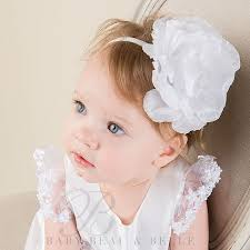 white flower headband baby girl white flower headband leila christening baptism