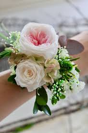white wrist corsage wrist corsage size ml white pink fleuri flowers
