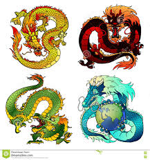 set four cunning asian color dragon stock vector image 74316088