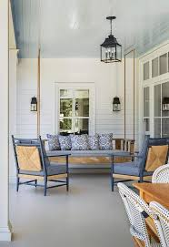 White Beadboard Ceiling by White And Blue Covered Patio With Blue Beadboard Ceiling