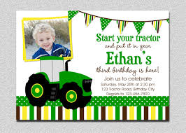 2nd Birthday Invitation Card Tractor Birthday Invitations Kawaiitheo Com