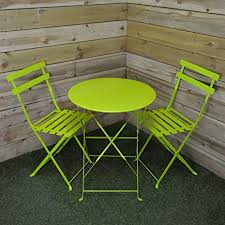 Lime Green Bistro Table And Chairs Supagarden 3 Lime Green Metal Folding Bistro Set Csfb200