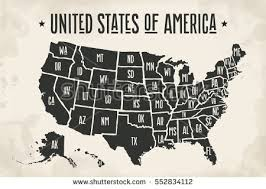 map of us states poster black and white us map poster stock vector poster map of united