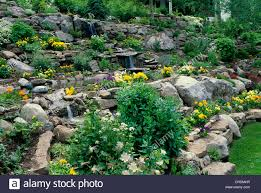 Rock Garden With Water Feature Rock Garden With Terraces Of Pansies Columbines And Water Feature