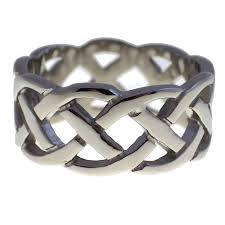 surgical steel band open weave celtic knot fashion ring wedding band