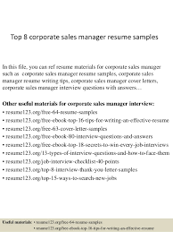 Manager Sample Resume Top 8 Corporate Sales Manager Resume Samples 1 638 Jpg Cb U003d1428675073