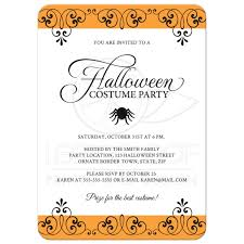 halloween costume party invitation with ornate black and orange
