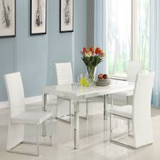 homelegance clarice 5 piece chrome dining table set modern white