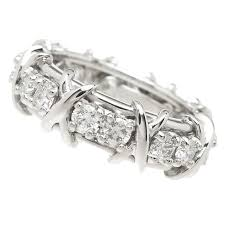 diamond x ring and co schlumberger diamond platinum x band ring at 1stdibs