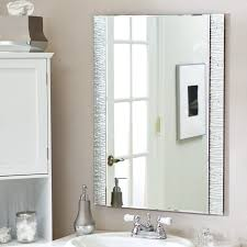 Metal Framed Mirrors Bathroom Silver Brushed Metal Frame Wall Mirror On White Painted Wall For