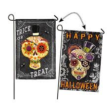 reversible halloween sugar skull garden flag happy halloween trick