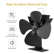 freestanding 4 blade heat powered stove fan gas wood burner