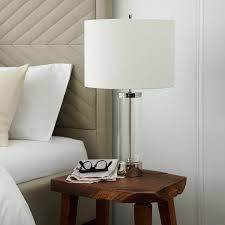 acrylic column table lamp polished nickel west elm