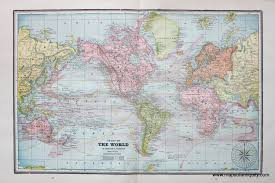 antique map world chart of the world on mercator s projection verso eastern