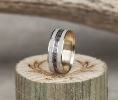 camo wedding ring 14k yellow gold camo wedding ring with elk antler available in