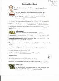 food inc worksheet food inc worksheets for teachers with aurum