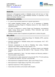 Quality Engineer Sample Resume by Reliability Engineer Resume Resume For Your Job Application