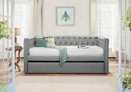 Tufting Sofa by Adalie Grey Polyester Twin Size Daybed W Nailhead Trim U0026 Button