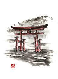 cuisine ang駘ique japanese torii gate torii painting watercolor gift por samuraiart