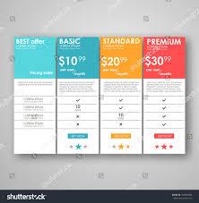 Table Ux Set Offer Tariffs Ui Ux Vector Stock Vector 323034062 Shutterstock