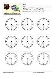 free worksheets time worksheets oclock and half past free math