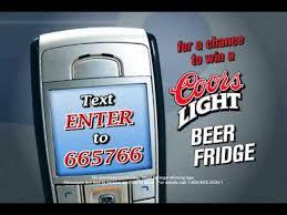 coors light beer fridge coors light text to win beer fridge youtube