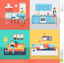 home interior vector flat vector at home interior in kitchen living room sofa