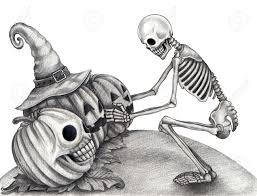 Halloween Drawing Halloween Skull Pumpkin Tattoo Hand Drawing On Paper Stock