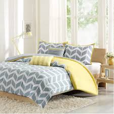 Grey King Size Comforter Set Bedroom Natural Wooden Bed With Yellow And Grey Zigzag Pattern