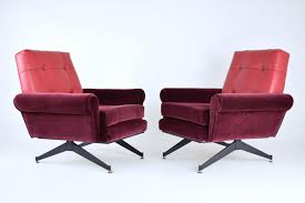 Mid Century Leather Chairs Mid Century Italian Red Velvet And Leather Armchairs 1950s Set