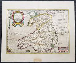 Map Of Wales 1639 Mercator U0026 Hondius Large Old Antique Map Of Wales Gb