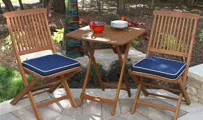 Outdoor Bistro Chair Cushions Square 3pc Square Bistro Set With Blue Weather Resistant Cushions