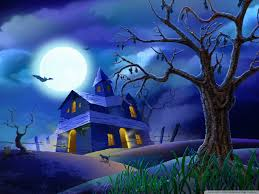free halloween background 1024x768 spooky house bats cat night full moon hallowmas halloween hd