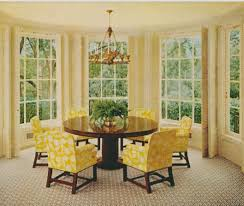 floral yellow chairs with elegant design combined with round