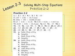 2 1 practice solving one step equations form k tessshlo