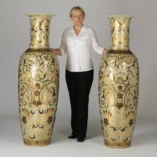 Large Floor Vases For Home Oversized Floor Vases With Gold Painted And Floral Pattern Ideas