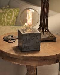 concrete cube desk lamp edison lamp