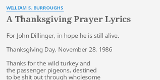 a thanksgiving prayer lyrics by william s burroughs for