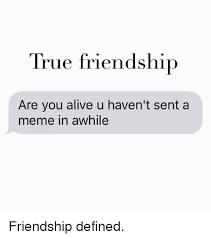 Meme Defined - true friendship are you alive u haven t sent a meme in awhile