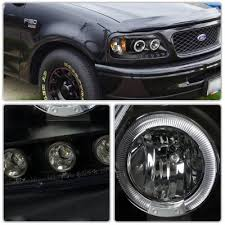 2001 Ford F150 Tail Lights Ford F150 1997 2003 Smoked Halo Projector Headlights With Led