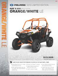 2013 polaris ranger rzr s 800 orange and white le polaris