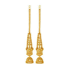 earrings gold design goldnera real gold design look in 22kt gold plated with ear chain