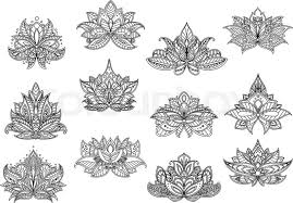 paisley flowers for carpet or tile design with