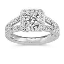 engraving engagement ring halo vintage diamond split shank platinum engagement ring with