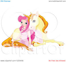 clipart of a pink fairy cuddling with a cute yellow unicorn