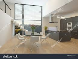 dining room wall unit modern kitchen interior central hob wall stock illustration